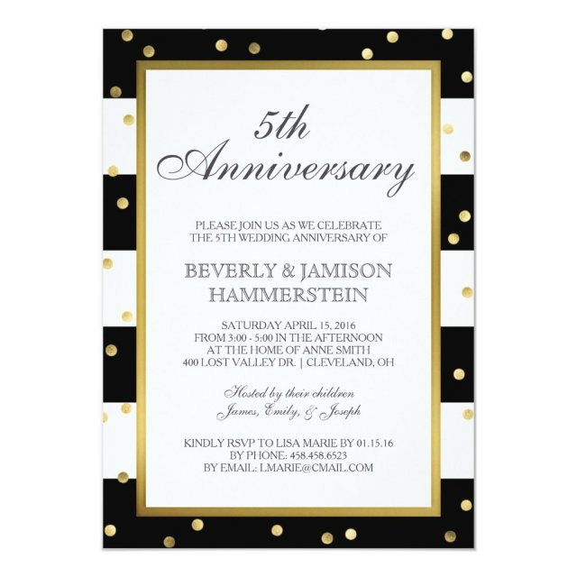 Sparkling Stripes   5th Wedding Anniversary Party Card