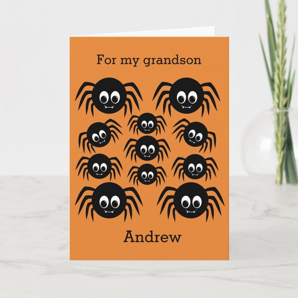 Spider Halloween Grandson Card