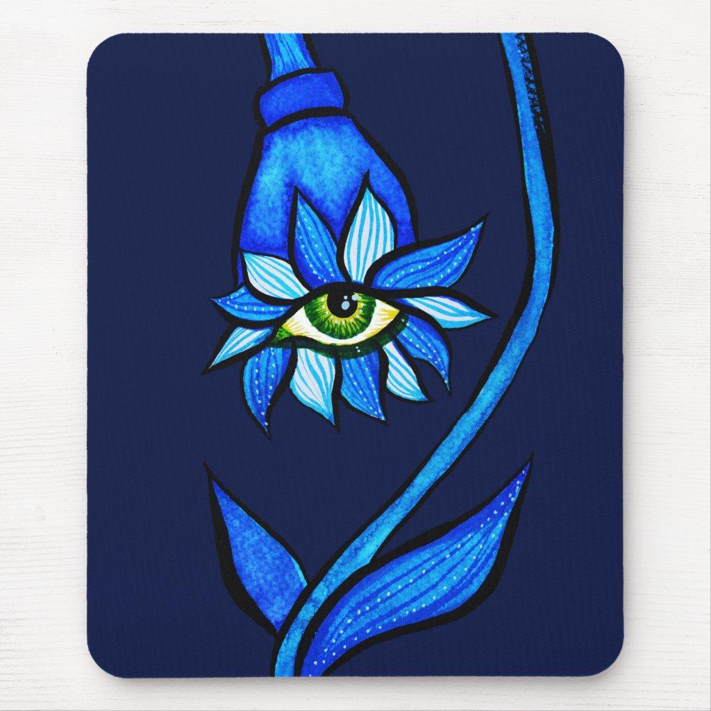 Spooky Eye Flower Creepy Art In Blue Mouse Mat