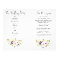 Spring Floral Watercolor Wedding Program Booklet 8.5