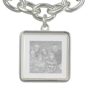 Square White Bordered Photo Charm Bracelet