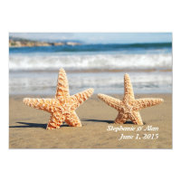 Starfish Couple On The Beach Wedding Invitation