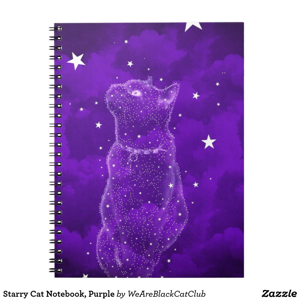 Starry Cat Notebook, Purple Notebook