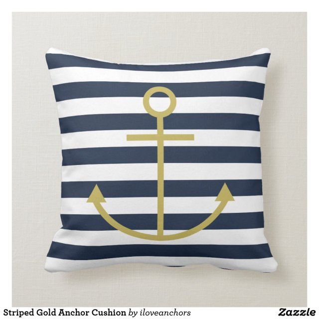 Striped Gold Anchor Cushion