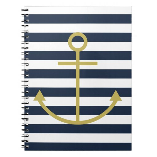 Striped Gold Anchor Notebook