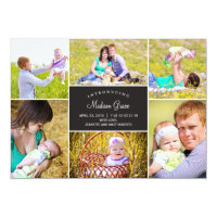 Stylish Collage Birth Announcement