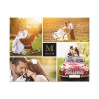 Stylish Monogram Wedding Photo Collage Canvas Print