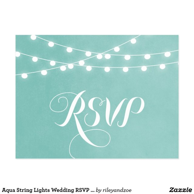 Summer String Lights Wedding RSVP Postcard