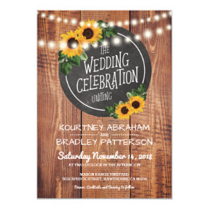 Sunflower Rustic String Lights Wedding Invitation