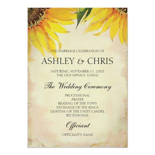 Sunflower Wedding Program - Vintage