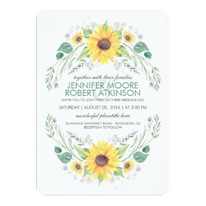 Sunflowers Rustic Country Wedding Invitation