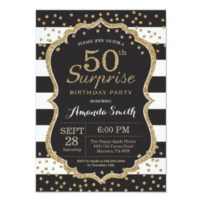 Surprise 50th Birthday Invitation. Gold Glitter Card