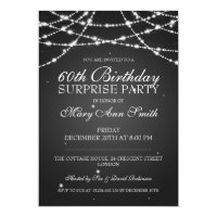 Surprise Birthday Party String of Stars Black Card