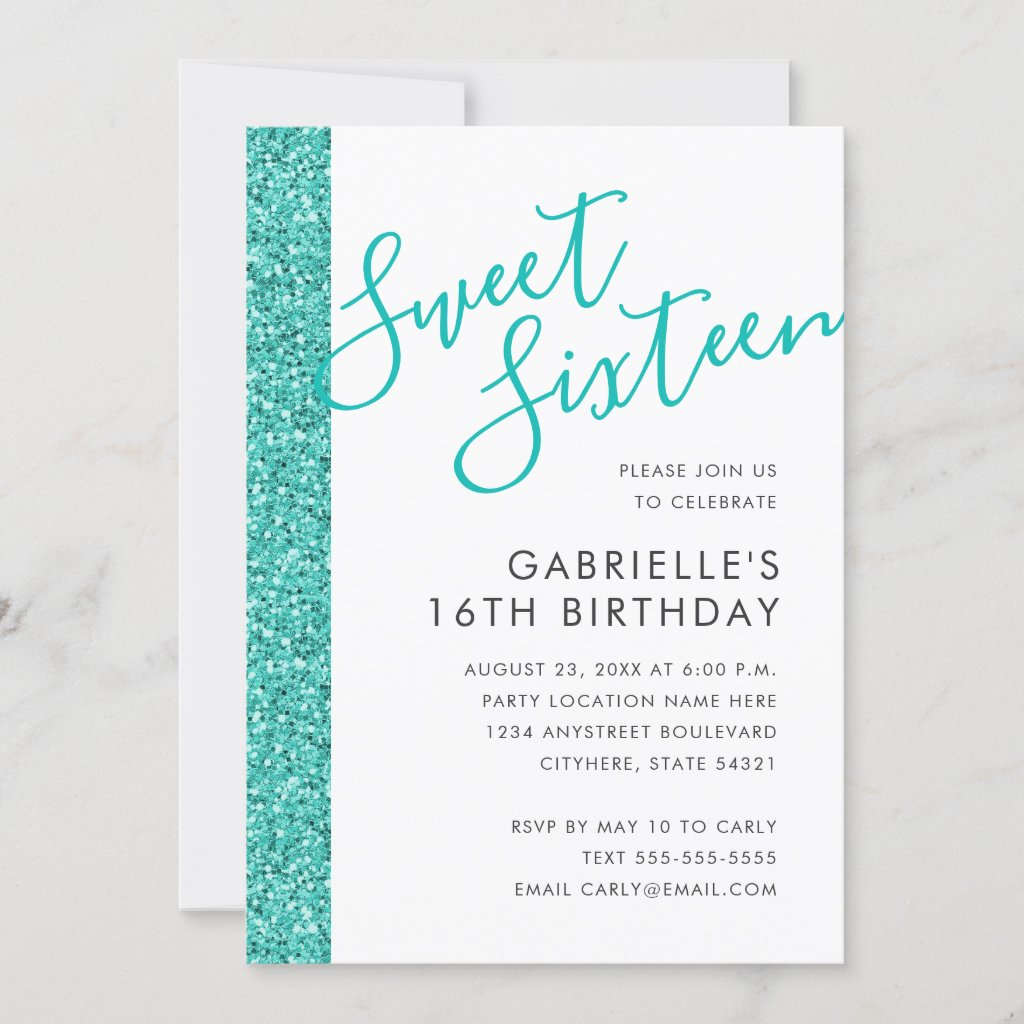 Sweet 16 Birthday Teal Blue Glitter Invitation