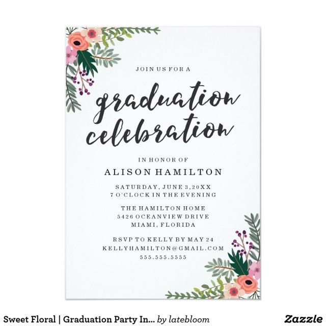 Sweet Floral Graduation Party Invitation