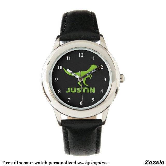 T rex dinosaur watch personalised with kids name