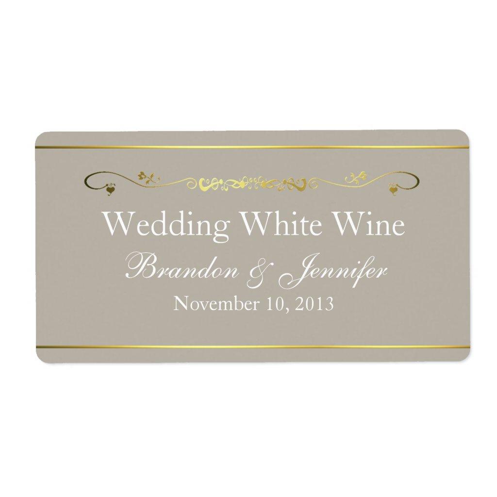 Tan & Gold Custom Wedding Mini Wine Labels
