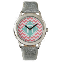 Teal and Coral Zig Zag Wristwatch