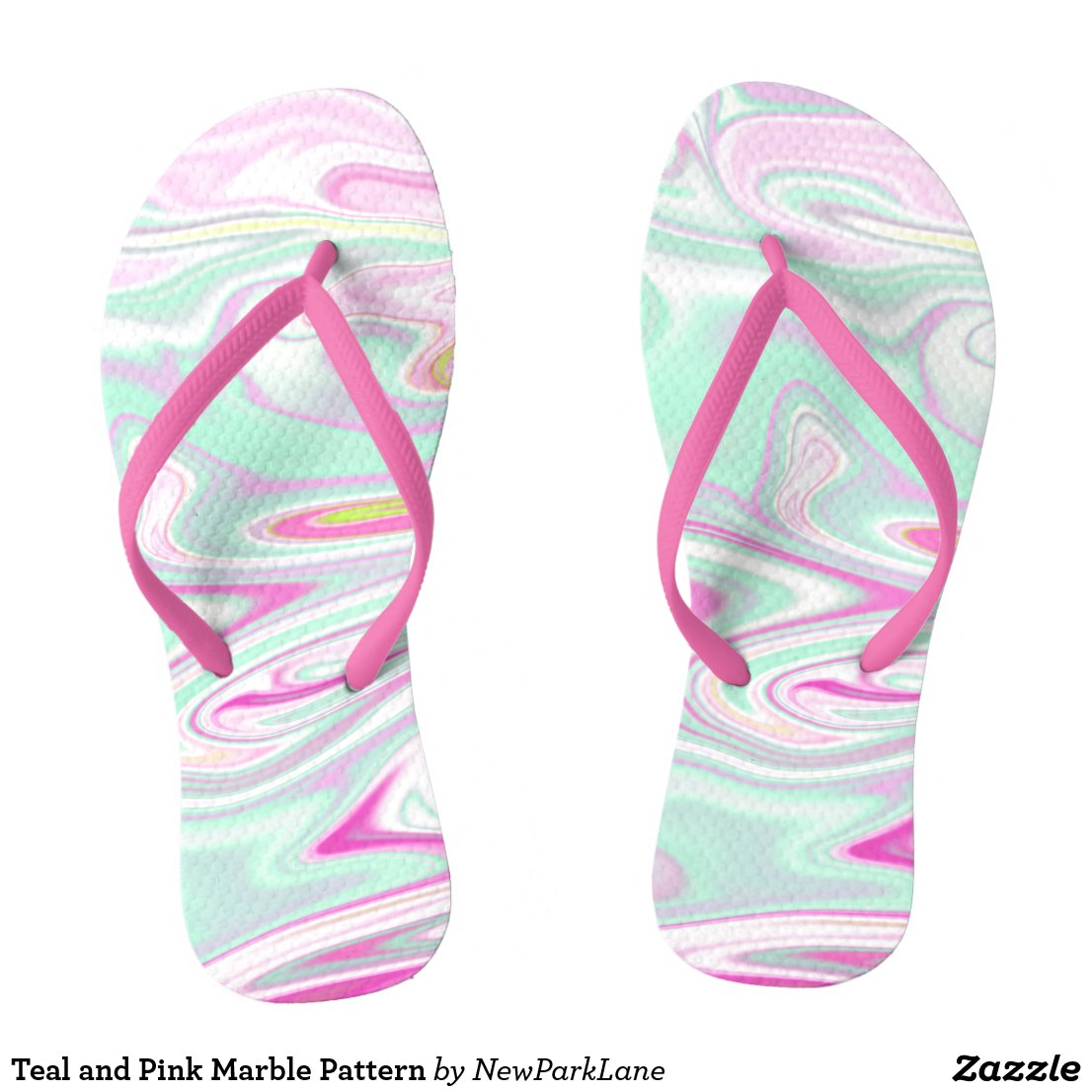 Teal and Pink Marble Pattern Flip Flops
