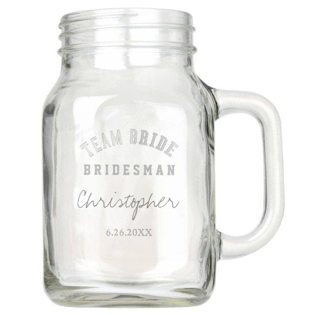 Team Bride Bridesman Personalised Mason Jar