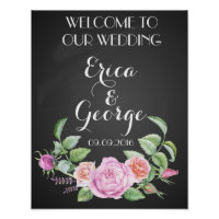 Floral welcome wedding sign poster