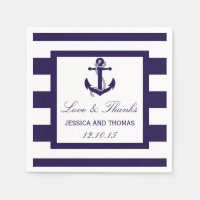 The Nautical Anchor Navy Stripe Wedding Collection Standard Cocktail Napkin