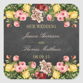 Vintage Floral Wedding Stickers