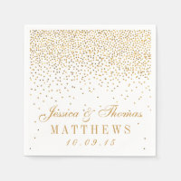 The Vintage Glam Gold Confetti Wedding Collection Standard Cocktail Napkin