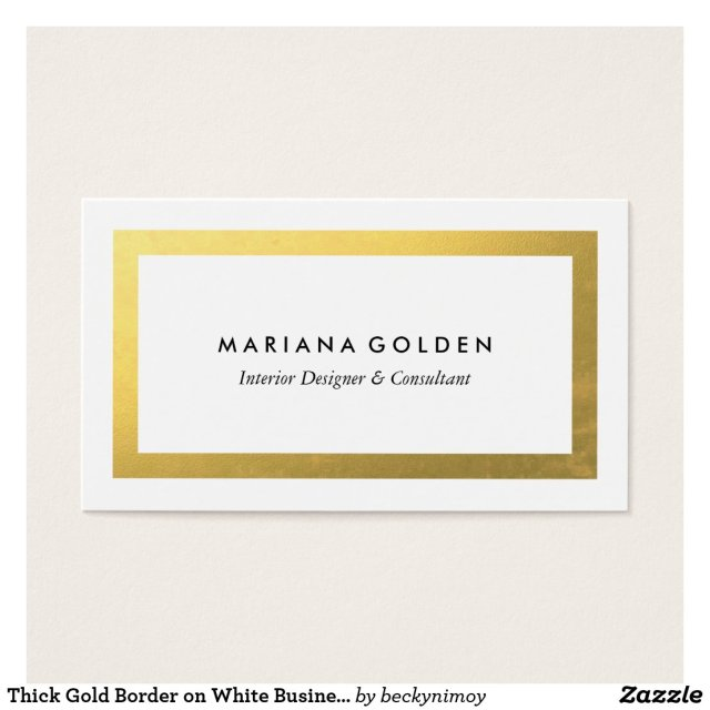 Thick Gold Border on White Business Card Template