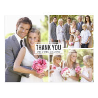 Photo Collage Wedding Thank You Postcard