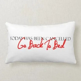 """Today Has Been Cancelled"" Pillow"