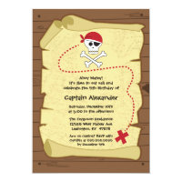 Treasure map pirate birthday party invitation