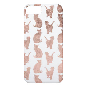 Trendy modern rose gold cats pattern custom iPhone 8/7 case