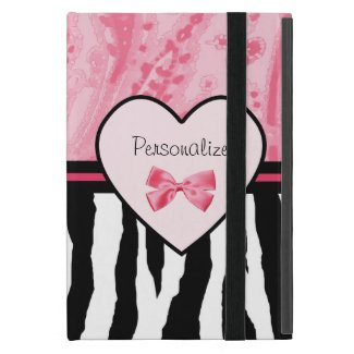 Trendy Pink and Black Zebra Pattern Bow and Name