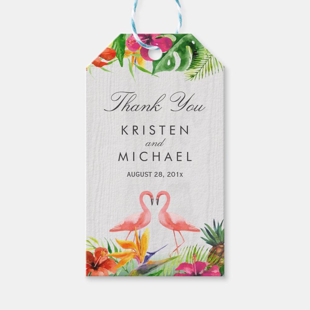 Tropical Floral Flamingo Couple Luau Thank You Gift Tags