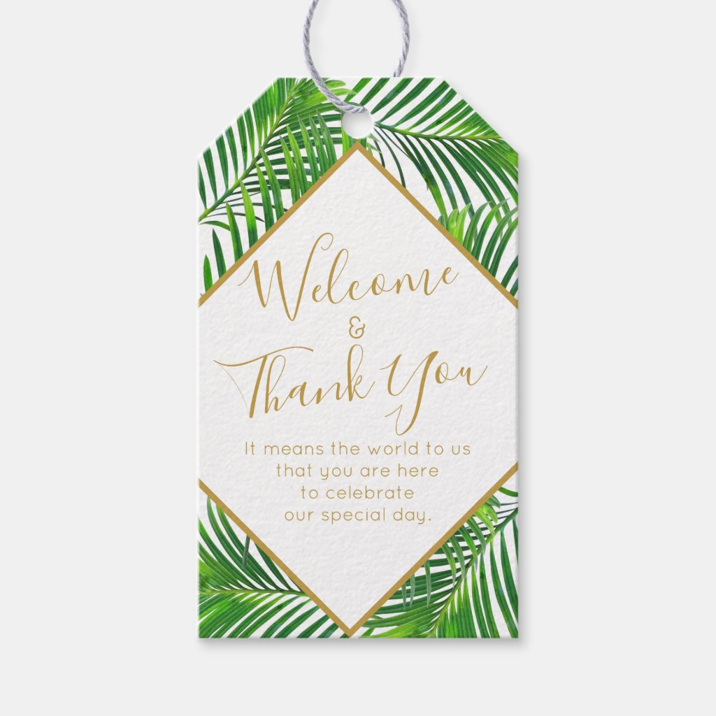 Tropical Palm Greenery Beach Island Wedding Favour Gift Tags