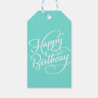 TURQUOISE HAPPY BIRTHDAY GIFT TAGS