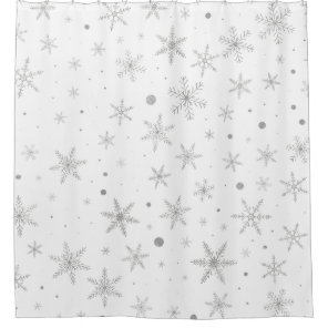 Twinkle Snowflake -Silver Grey & White- Shower Curtain