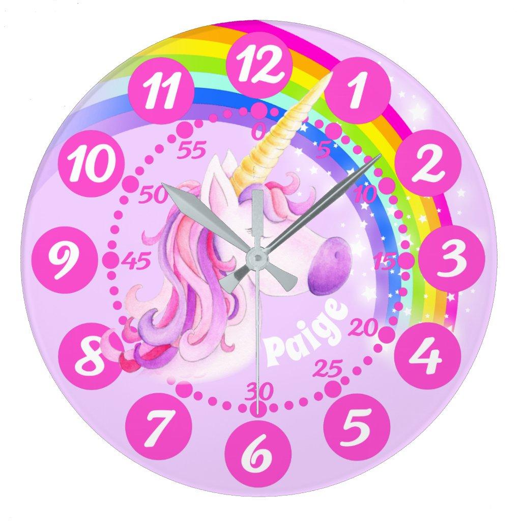 Unicorn and rainbow purple pink art kids clock