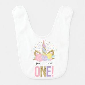 Unicorn Baby Bib Pink Gold Birthday Baby Bib