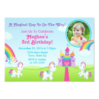 Unicorn Birthday Invitation Photo Card