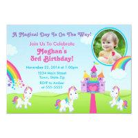 Unicorn Birthday Invitation Photo Card