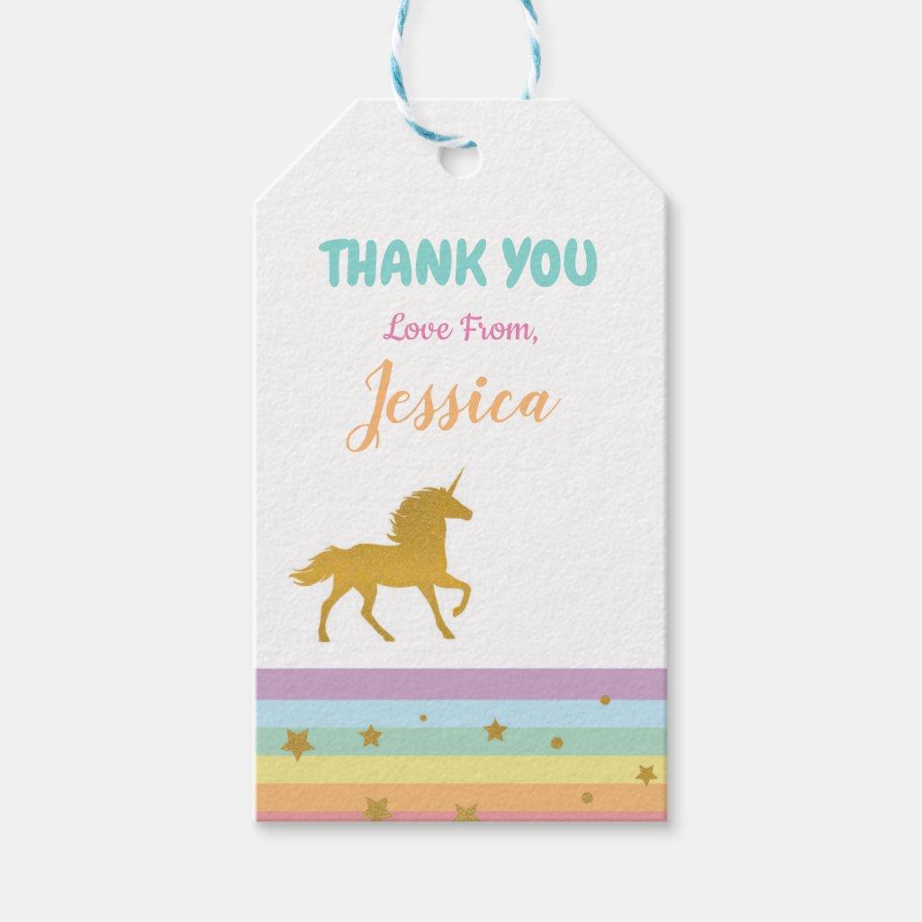 Unicorn Birthday Party Invite Thank You Tags