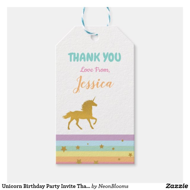 Unicorn Birthday Party Invite Thank You Tags