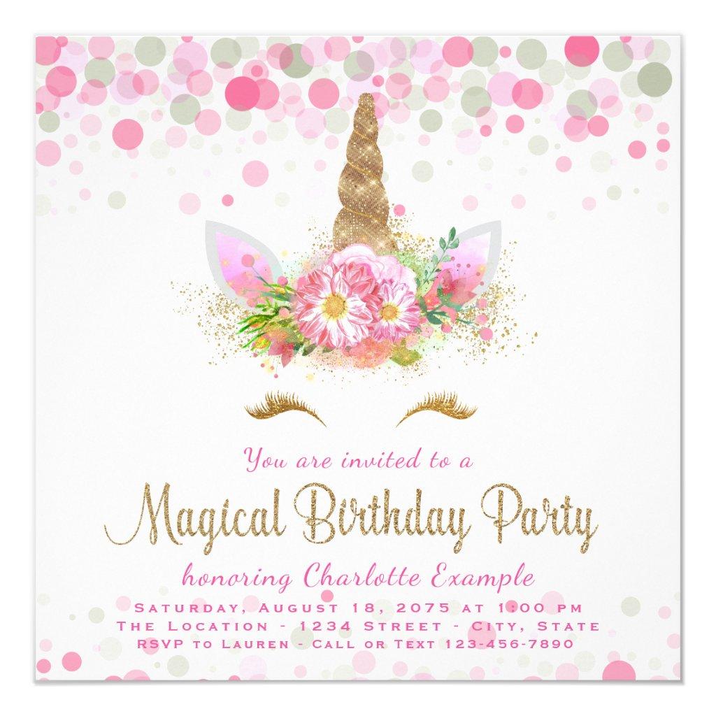 Unicorn Face Girls Birthday Party Invitations