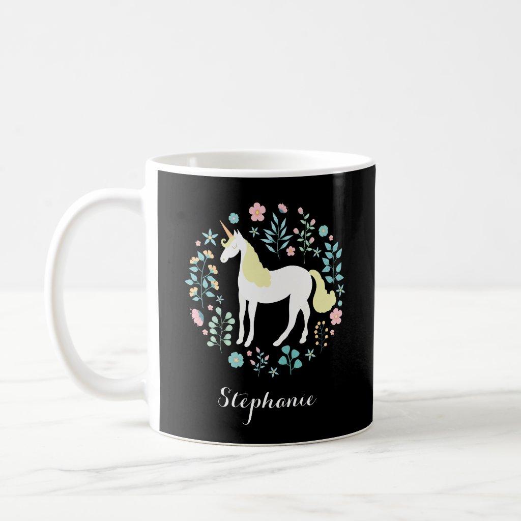Unicorn & Flowers Black Personalised Mug