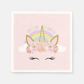 Unicorn Pink & Gold Party Napkins