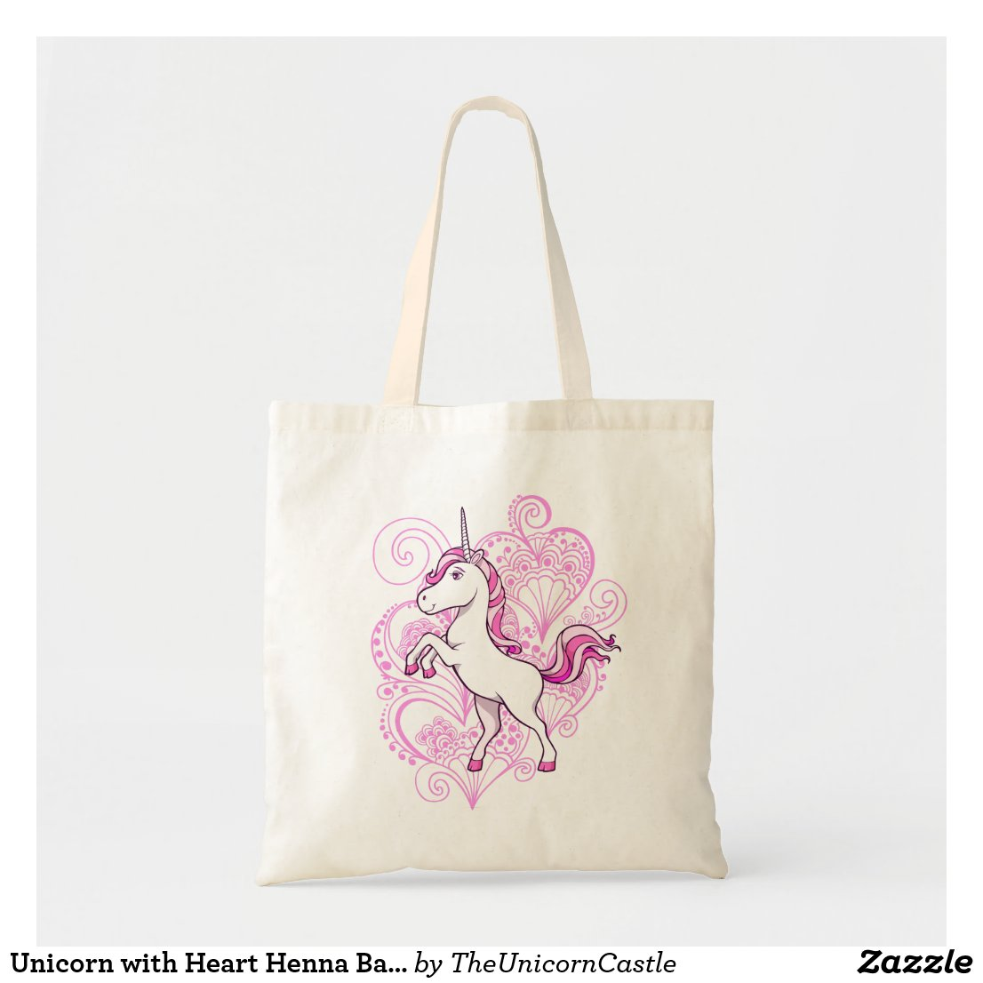 Unicorn with Heart Henna Background Bag