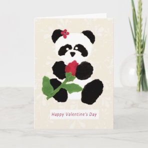 Valentine's Day Panda Holiday Card