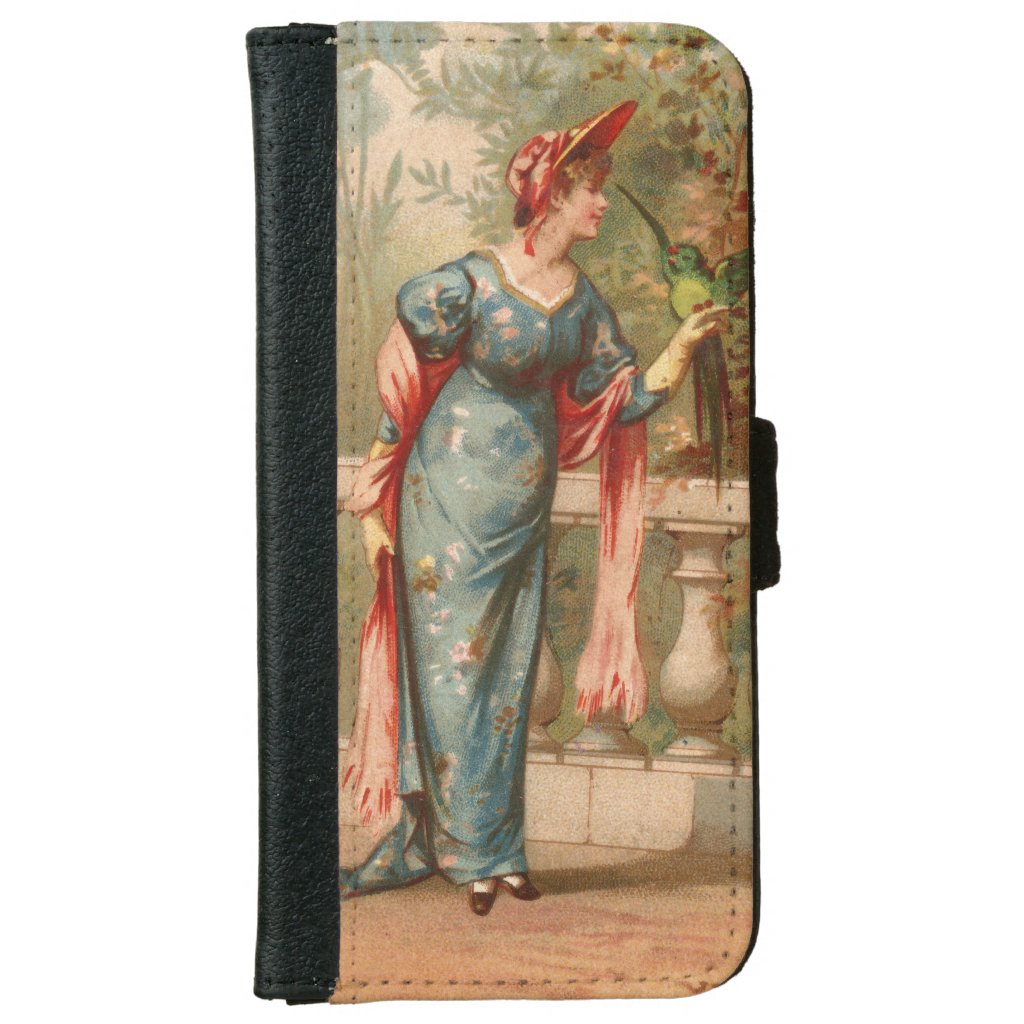 Victorian Lady with Bird Romantic Vintage Image iPhone 6 Wallet Case